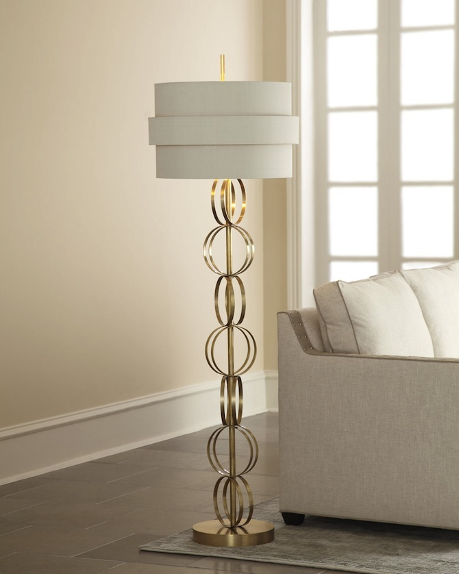 circular-white-and-golden-floor-lamp  Modern And Trendy Floor Lamps For Living Rooms circular white and golden floor lamp