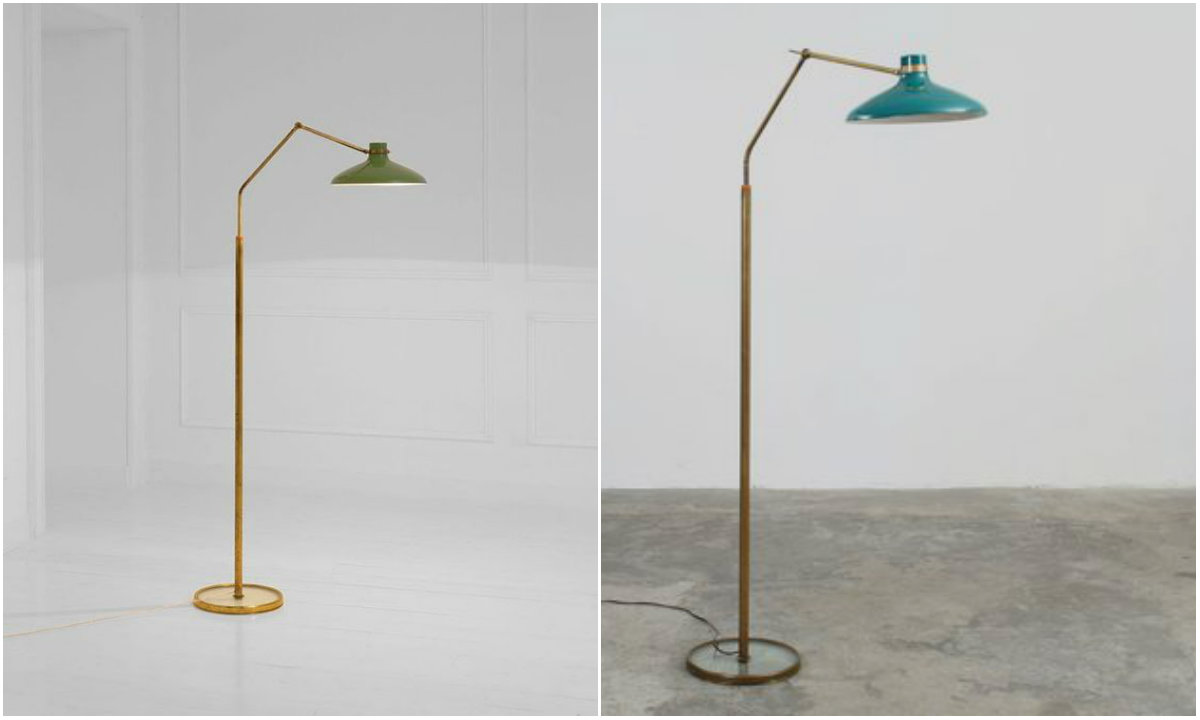 10 mid-century lighting designs by Gio Ponti brass and Enameled Aluminum Floor Lamp for Fontana Arte, 1950 gio ponti Mid-century lighting designs by Gio Ponti 10 mid century lighting designs by Gio Ponti brass and Enameled Aluminum Floor Lamp for Fontana Arte 1950
