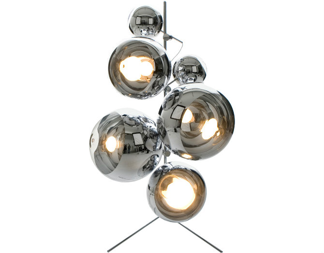 Mirror Ball Stand by Tom Dixon silver floor lamp Get your home a modern touch with a silver floor lamp Floor lamps designed by Tom Dixon tripod mirror lamp