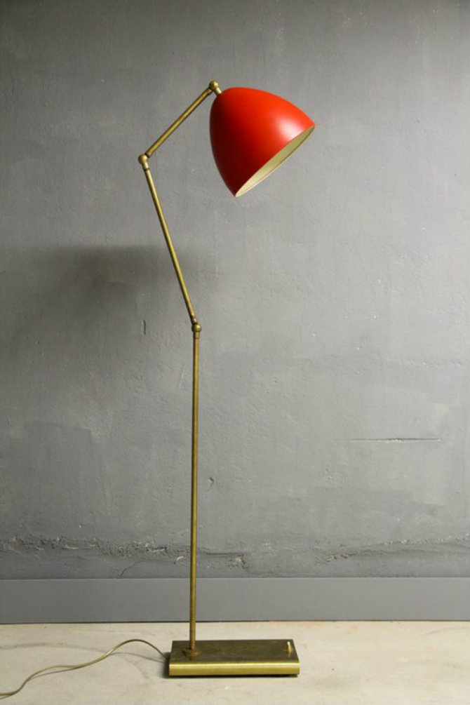 Red lamps for your home designs Brass and Enameled Metal Floor Lamp1950s Floor lamps Red Floor lamps for your home designs Red Floor lamps for your home designs Brass and Enameled Metal Floor Lamp1950s
