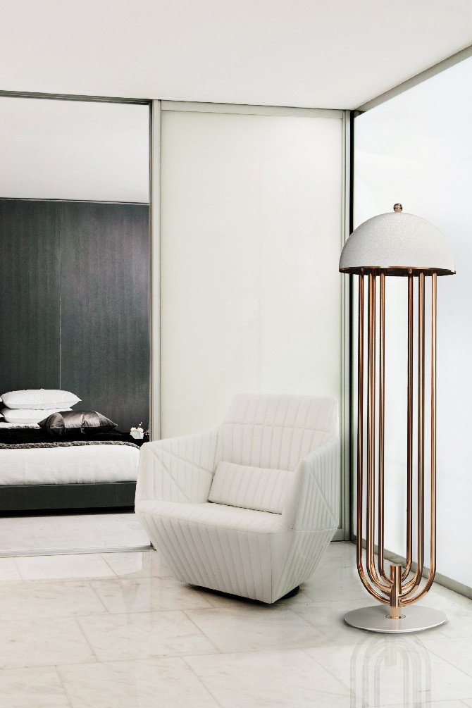10 brass floor lamps to a modern home for Design bedroom lighting