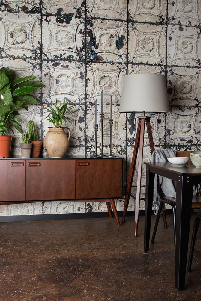 Use mid century modern floor lamps beside a sideboard Mid century modern flooring