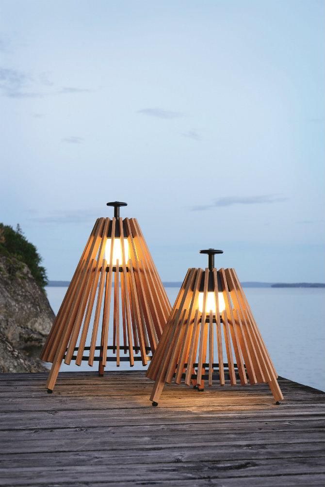 Outdoor floor lamps to use in a deck or patio Teak Floor lamp TIPI by Skargaarden design Mårten Cyrén, Gustav Cyrén