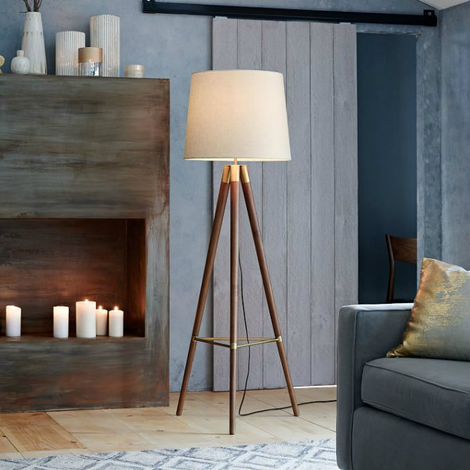 Wooden floor lamps for a mid century modern home design for Modern contemporary floor lamp
