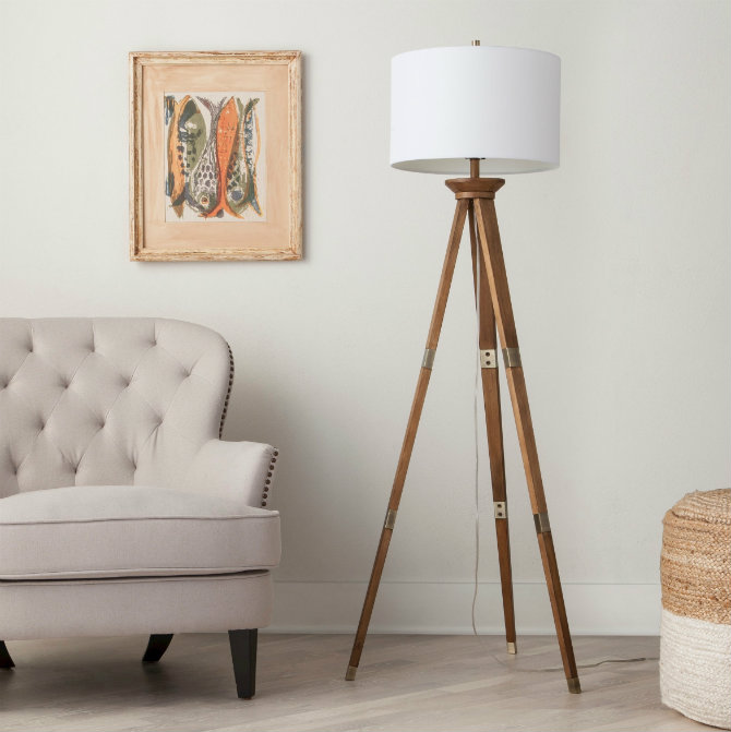 Wooden floor lamps for a mid-century modern home design Standing tall and strong on 3 slender legs, the Threshold Oak Wood Tripod Floor Lamp brings incandescent style to wooden floor lamps Wooden floor lamps for a mid-century modern home design Wooden floor lamps for a mid century modern home design Standing tall and strong on 3 slender legs the Threshold Oak Wood Tripod Floor Lamp brings incandescent style to