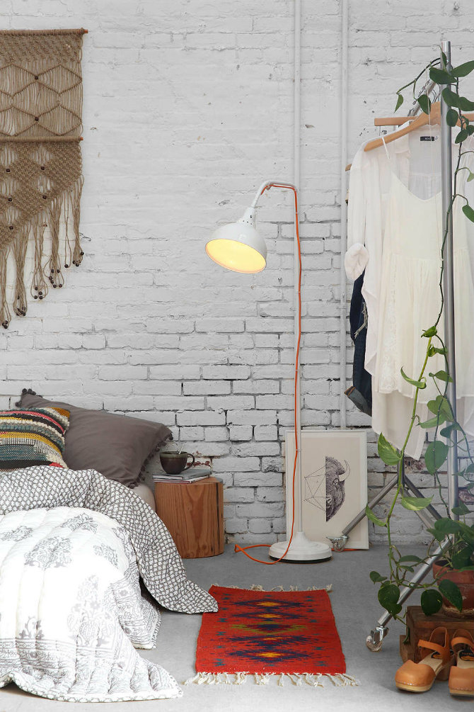brick walls and floor lamps white brick beautifully complements Boho modern style industrial design Industrial Design Icons: Floor lamps and brick walls brick walls and floor lamps white brick beautifully complements Boho modern style