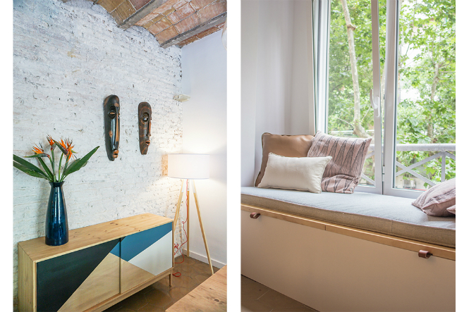 Modern Improved Barcelona Apartment features Mid-Century Floor Lamps