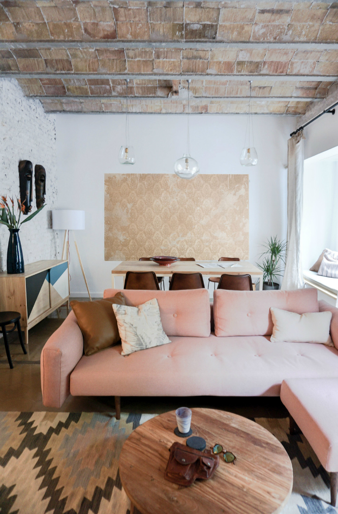 Modern Improved Barcelona Apartment features Mid-Century Floor Lamps floor lamps Modern Improved Barcelona Apartment features Mid-Century Floor Lamps living room