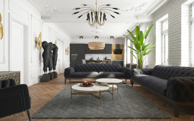 Contemporary Apartment in Kiev with Modern Black Lamps black lamps Contemporary Apartment in Kiev with Modern Black Lamps Contemporary Apartment in Kiev with Modern Black Lamps 1