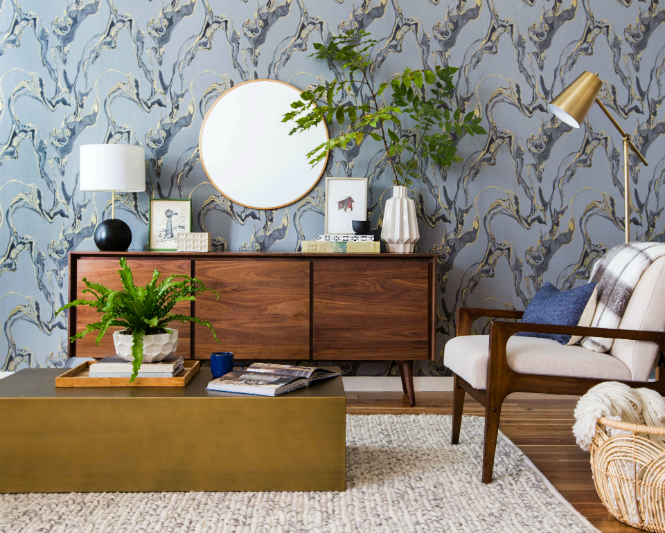 Why Lighting Design is Important in Interior Decor lighting design Why Lighting Design is Important in Interior Decor Emily Henderson Tempaper Marbled Midcentury Eclectic Living Room Target Wood Edited1