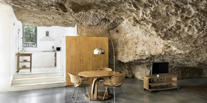 Cave House Straight Out of a Fairy Tale with a Stunning Arc Floor Lamp feat