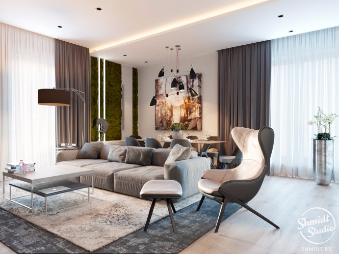 Modern Open Living Room with Stunning Lighting Designs in Minsk (1) lighting design Modern Open Plan Living Room with Stunning Lighting Designs in Minsk Modern Open Living Room with Stunning Lighting Designs in Minsk 1