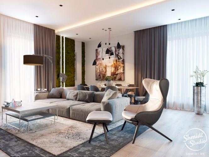 Modern Open Living Room with Stunning Lighting Designs in Minsk (1)