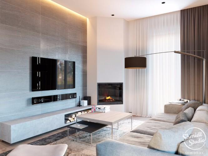 Modern Open Living Room with Stunning Lighting Designs in Minsk (2)