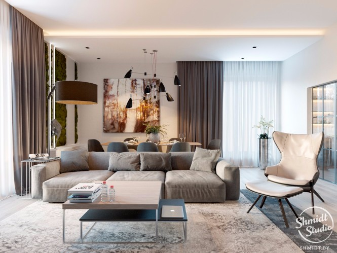 Modern Open Plan Living Room with Stunning Lighting Designs in Minsk