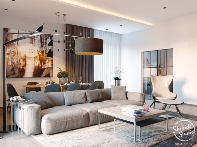 Modern Open Living Room with Stunning Lighting Designs in Minsk (6)