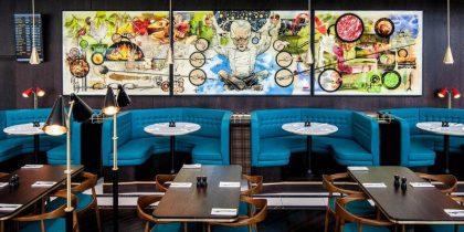 Outstanding Restaurant Design with Mid-Century Lighting Designs 1000