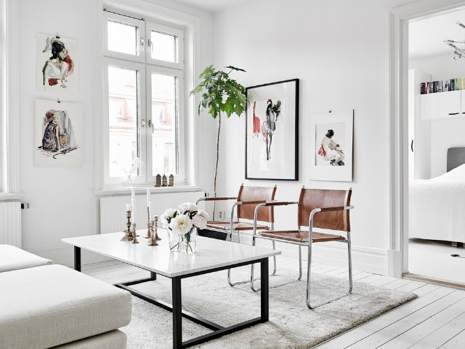 Swedish Apartment Shining with Floor Lamps