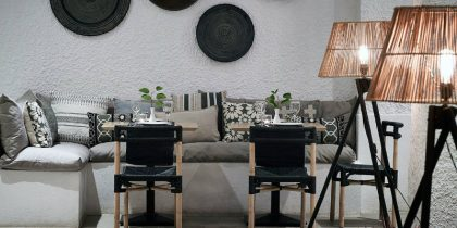 Tripod Floor Lamps Shining in Skiathos Blu Hotel feat