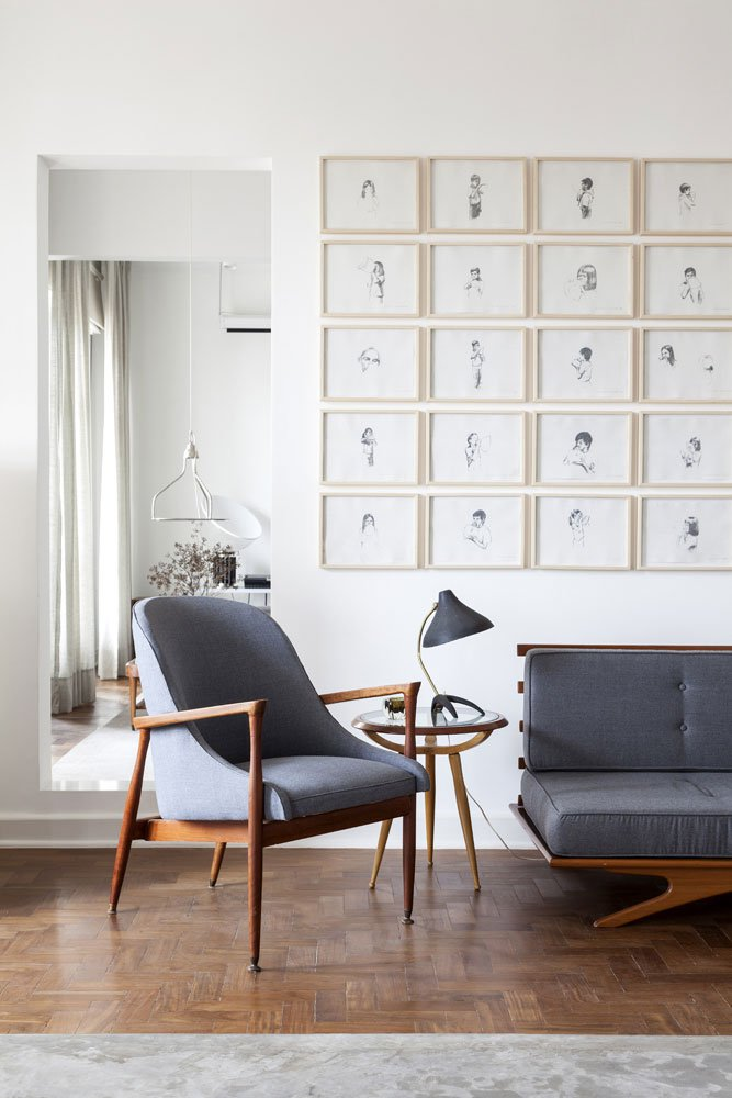 Renovated Apartment in São Tomás Building with Mid-Century Lighting