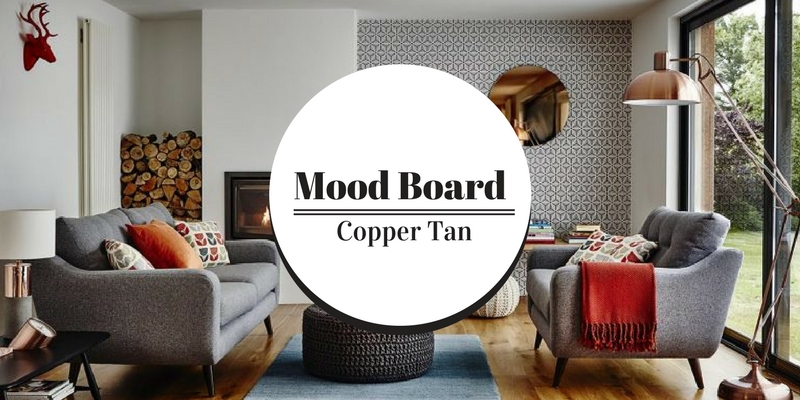 Mood board use copper tan for a luxurious home decor
