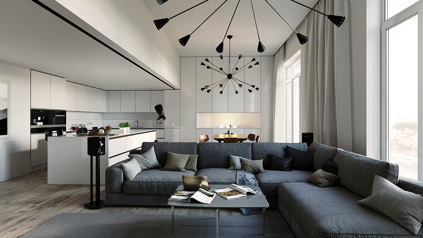 Mid century floor lamps in an unique interior design project for Best interiors in the world