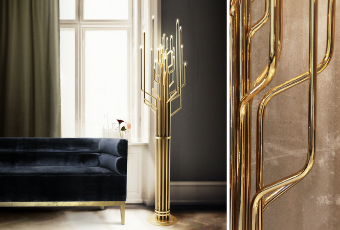 Let your home shine with your new golden floor lamp (2)