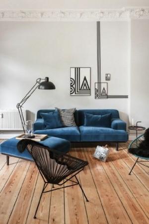blue living room modern floor lamp