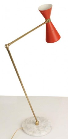 Modern Floor Lamps italian design Stilnovo Floor Lamp Gold Brass White Red