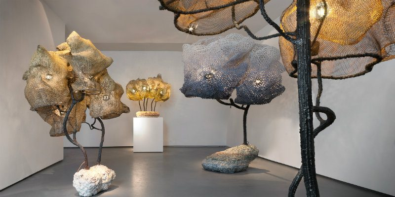 sculpture lamps Nacho Carbonell fills Paris Gallery with Amazing Sculpture Lamps Nacho Carbonell fills Paris gallery with giant cocooned lamps 800x400