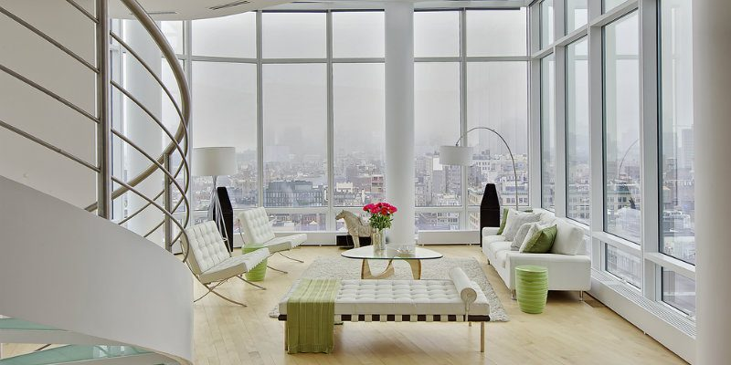 Chelsea Penthouse with Modern Floor Lamps & Sweeping Views FEAT