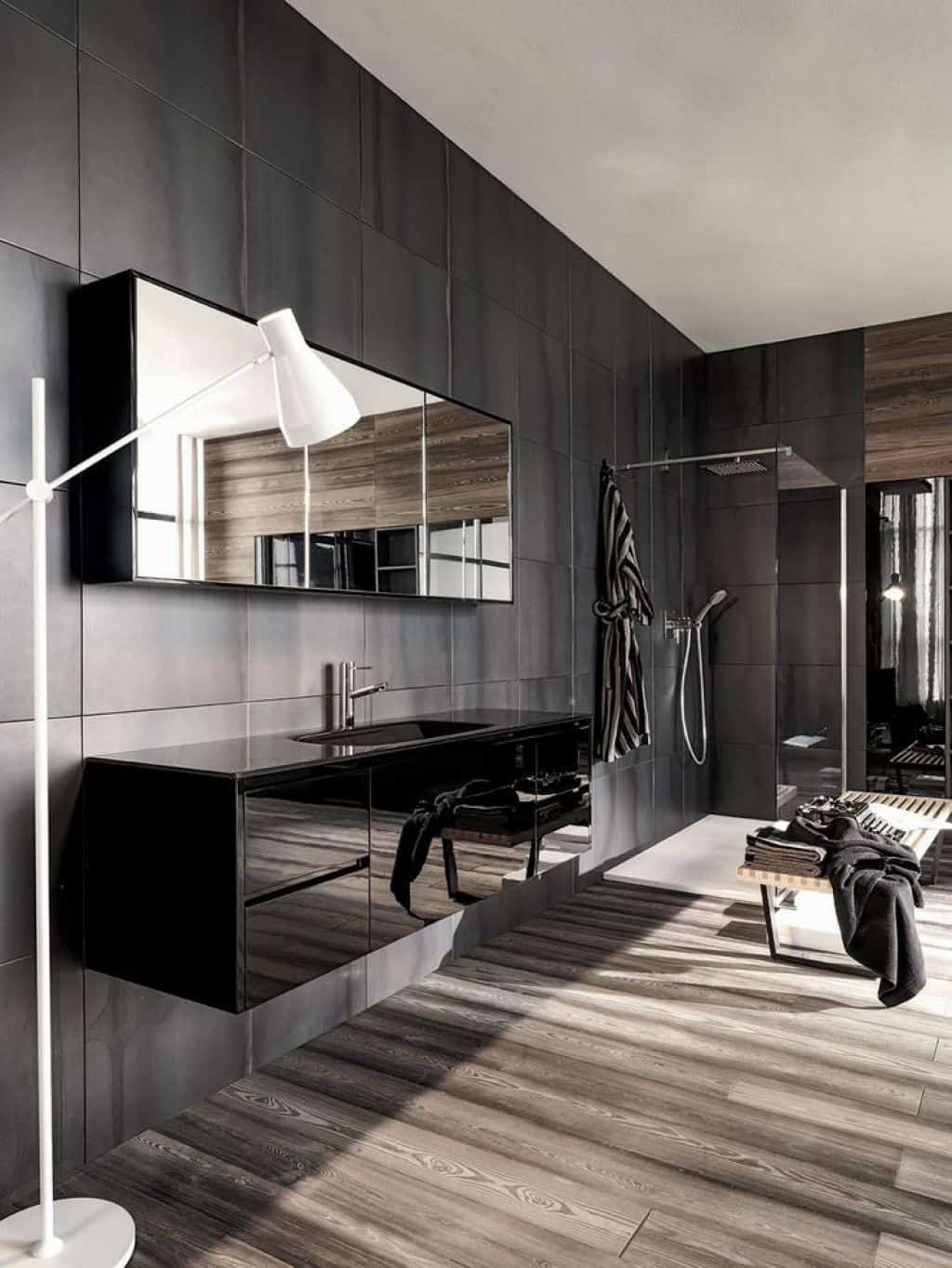 bathroom décor What's Hot On Pinterest Bathroom Décor With Floor Lamps! grey masculine bathroom with sleek mounted vanity and walk in shower also white floor lamp